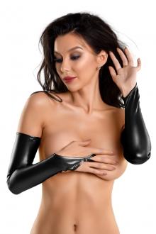 Перчатки-митенки из материала Wetlook выше локтя, чёрный, р-р М