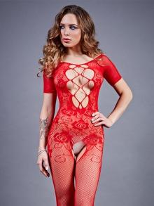 Боди-комбинезон красный c рукавом и вырезом на груди, S-L