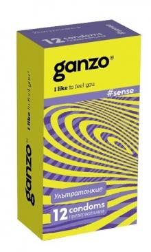ПРЕЗЕРВАТИВЫ GANZO SENSE (ультратонкие), 12 штук