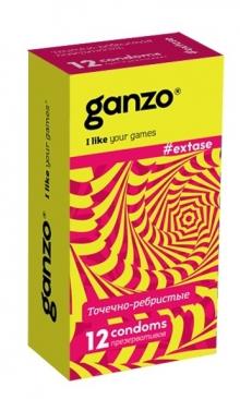 ПРЕЗЕРВАТИВЫ GANZO EXTASE (анатомические с точечной и ребристой текстурой), 12 штук